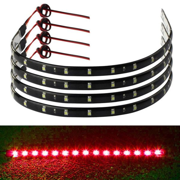 best selling 4PCS 30cm 15 LED Car Trucks Grill Flexible Waterproof Light Strips 4 Colors Universal Car Led Light Accessories Free Shipping