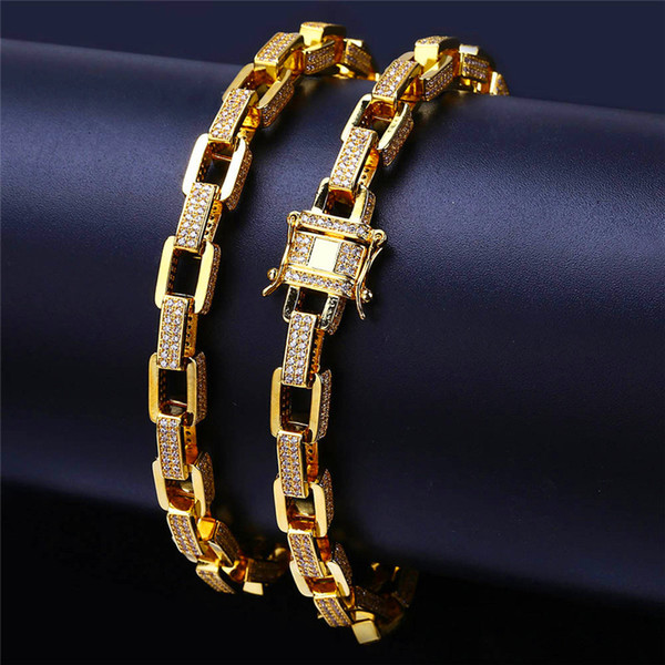 Miami Cuban Link Chain Necklace For Men Ice Out Bling Cubic Zirconia Silver Gold Plated Necklace Hip Hop Jewelry