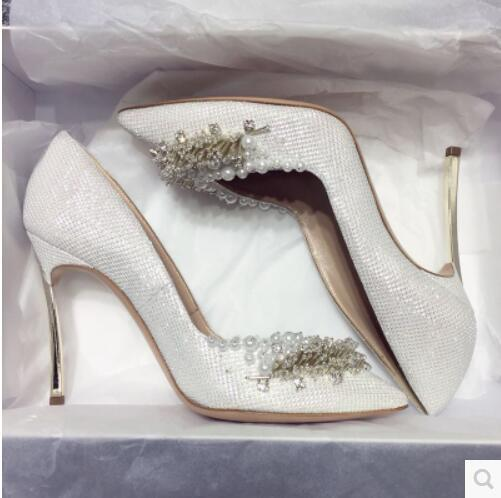 Wedding shoes Bride shoes Silver Gold Diamonds Pearls Made by hands High  heel Pointed toe Sexy 4ca6bd35e54f