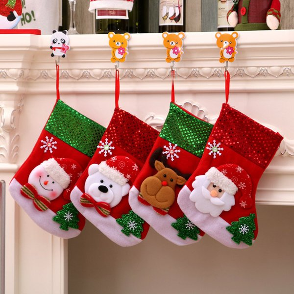 new cute christmas stocking snowman elk santa claus candy gift bags for children cutlery bag christmas tree hanging ornament home decor
