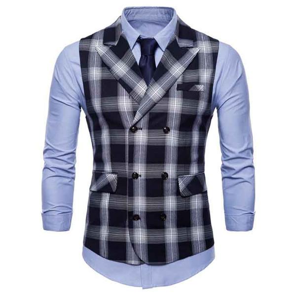 2018 Men Plaid Modern Fit Double-Breasted Vest Suit Waistcoats Casual Blazer Vest Slim Fit Waistcoat 3 Colors Plus Size For Male