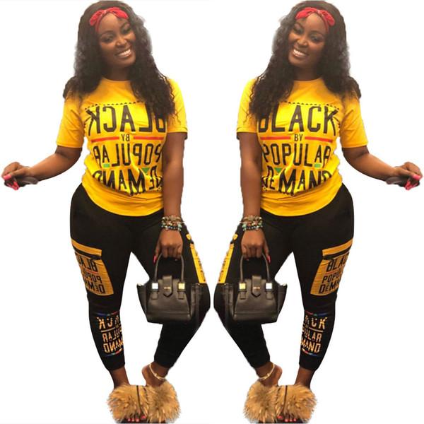 2018 Sonbahar Mektup Baskı 2 Iki Parçalı Set Üstü ve pantolon Kadın Eşofman Artı Boyutu Rahat Kıyafet Spor Takım Elbise Kadın Eşofman Giyim