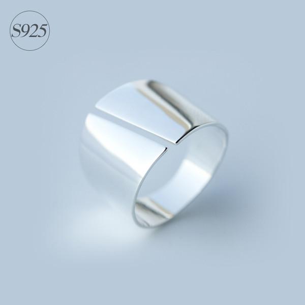 La dama es real 925 Joyas de plata esterlina Alta pulido Rocker Ring Band Wider 15 mm joyería anillo largo cómodo GTLJ811