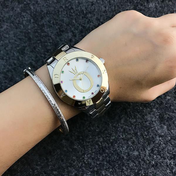 zichen080514 / Fashion Brand Women's Girls beautiful Colorful crystal style Metal steel band Quartz wrist Watch P24