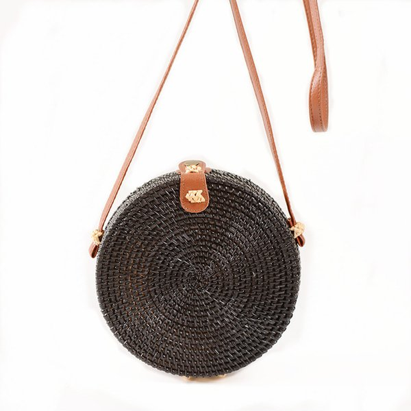 New Hot 2018 Borsa a tracolla rotonda per le donne Summer Beach Borsa a tracolla in rattan intrecciato a mano borse a tracolla con motivo a cerchio Bali