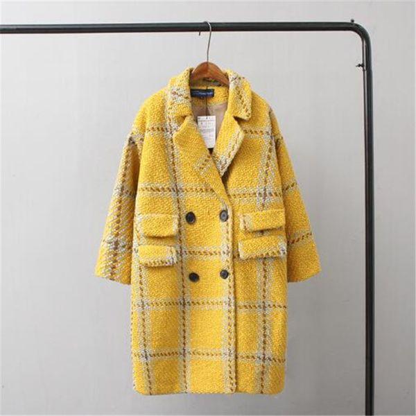 Mistura de Lã de inverno Mulheres Casaco 2018 Novo Casual Solto Amarelo Xadrez Trench Coat Cashmere Casaco Longo Lapela Casacos De Lã