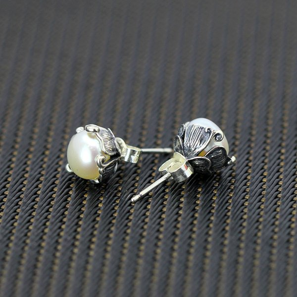 925 Sterling Silver Natural Pearl Stud Earrings For women jewelry Thai Silver Vintage Earrings for girl,birthday gift