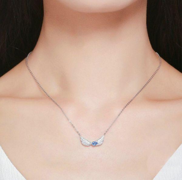 De luxe Boule de Cristal Ange Aile Collier Pendentif Chaîne Mariage Fashion Jewelry