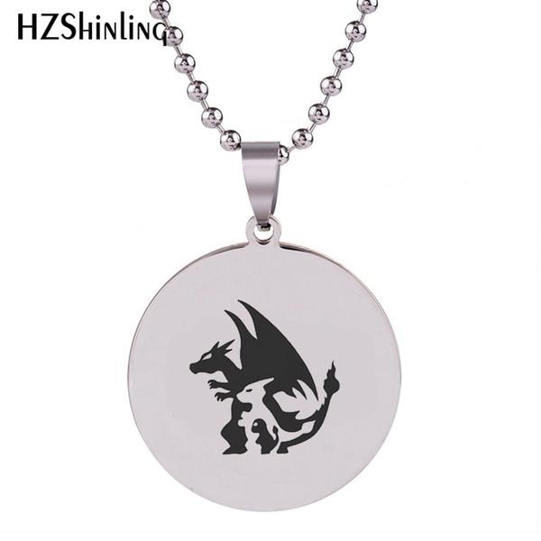 SS-0023 2018 New Charmander Pendant Charmeleon Stainless Steel Necklace Art Handmade Jewelry Ball Chain