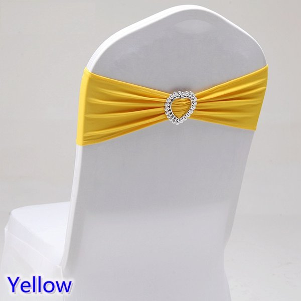 Yellow colour wedding chair sash with heart buckle lycra band spandex sash bow tie For Wedding Banquet Decoration for sale