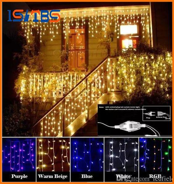 Cortina Carámbano Led Cadena de luz Luz de Navidad 4 m Droop 0.4-0.6m Decoración al aire libre 220 V 110 V led luz de día de fiesta Año Nuevo Jardín Boda
