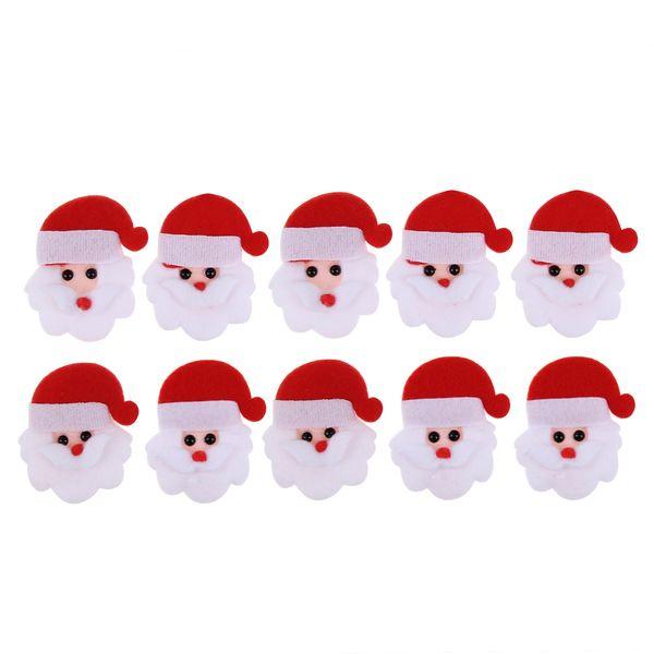 10pcs Santa Claus/Snowman Christmas Shape Patch Padded Felt Appliques Accessories Christmas Tree Party Decor Ornament Sticker