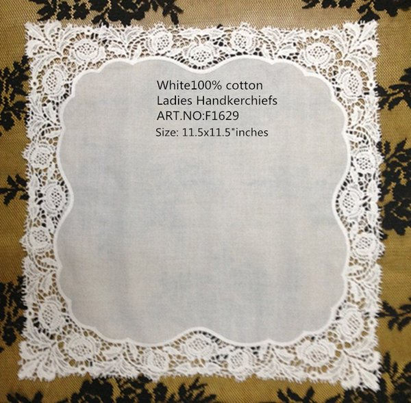 Набор из 12 модных дамских носовых платков 12-дюймовый хлопковый свадебный платок для невесты Hankie Vintage Sweet Heart Hanky For Bride