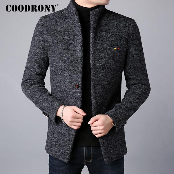 Großhandel COODRONY Männer Mantel Winter Dicke Warme Wollmantel Männer Kleidung 2018 Herren Mantel Mit Tasche Herren Mäntel Slim Fit Pea Jacke C01 Von