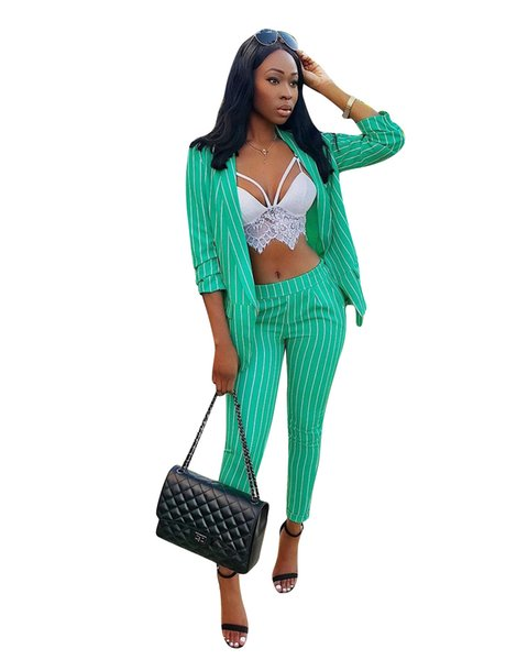 Green and White Striped Fashion Women Suits and Blazers Elegant Long Sleeves Lapel Neck Jacket and Pants Sets OL Women Pants Outfits