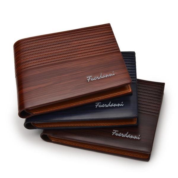Nueva moda corta para hombre carteras de cuero de la PU Bifold Male Wallets de gran capacidad de tarjetas bancarias titular de la cartera de negocios personalidad monedero 1 unids