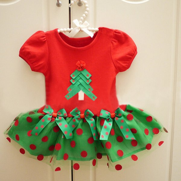 Christmas Tree Baby Girl Dress Green Red Children X'mas Costumes Girls TUTU Dresses Dot Infant Jumper Toddler Outfits 1-4 Years