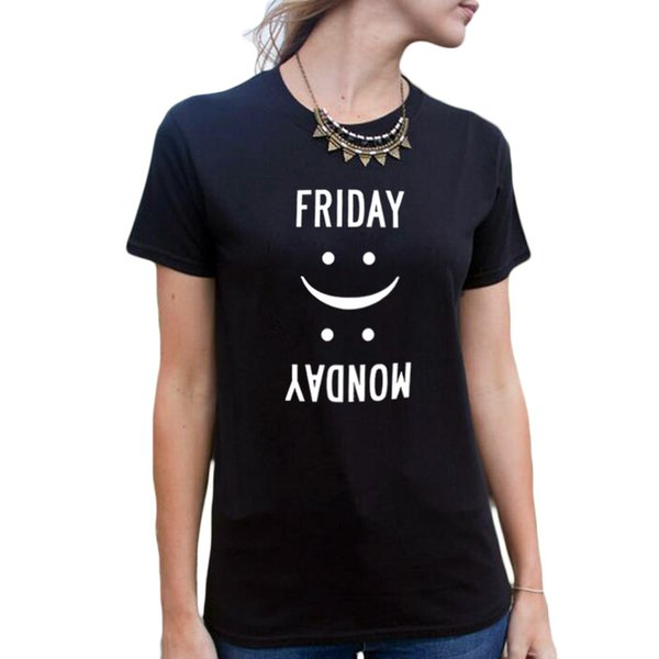 best supplier best wholesaler catch Women'S Tee Friday Monday T Shirt Top Funny Blogger Style Casual Tee Shirt  White Black T Shirt Femme Casual Women Clothes 2017 Short Sleeve Shirts ...