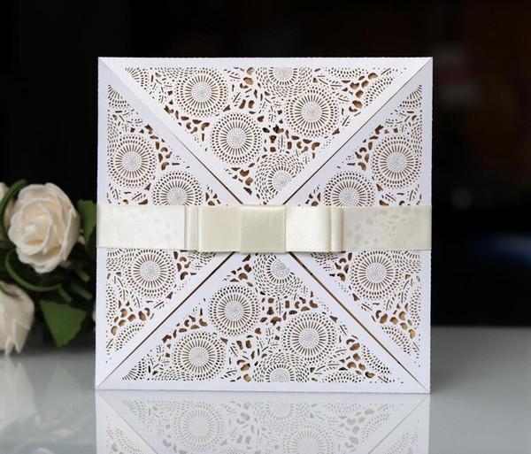 White Color Laser Cut Wedding Invitation Suites Customization Invites With Envelope Wedding Accessory Black Inner Custom Folded Invitations