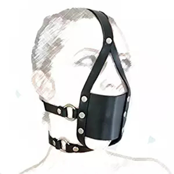 Leather Head Face Mask Muzzle Restraint Bondage Gag Harness Strap, Party Cosplay Role Play Costume S19706