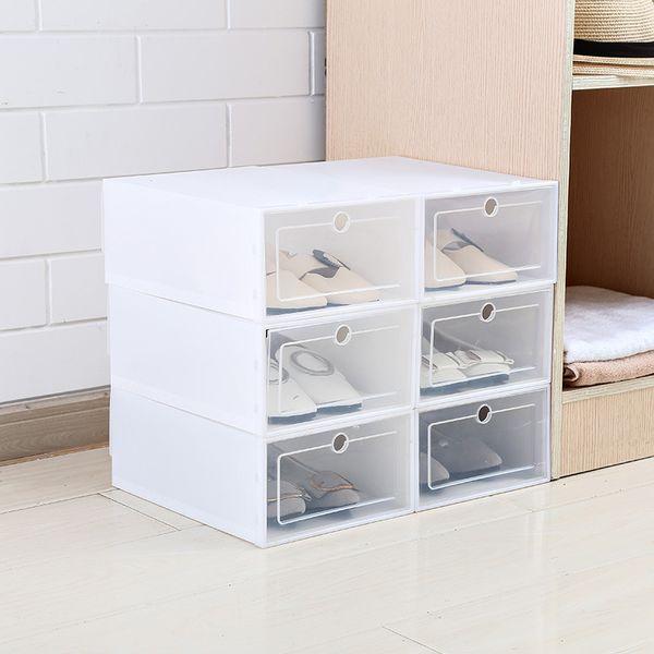 6 unids / set engrosado flip zapatos caja de cajón transparente cajas de zapatos de plástico caja de almacenamiento de caja apilable organizador de almacenamiento de zapatos