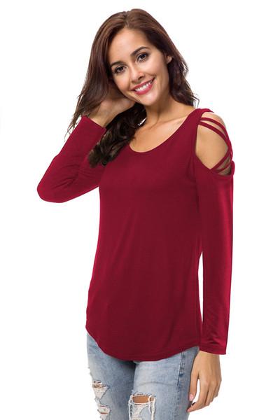 73715c71127 Women's Casual Crewneck Crisscross Cold Shoulder Long Sleeve T Shirt womens  sweatshirt Casual Loose Round Neck
