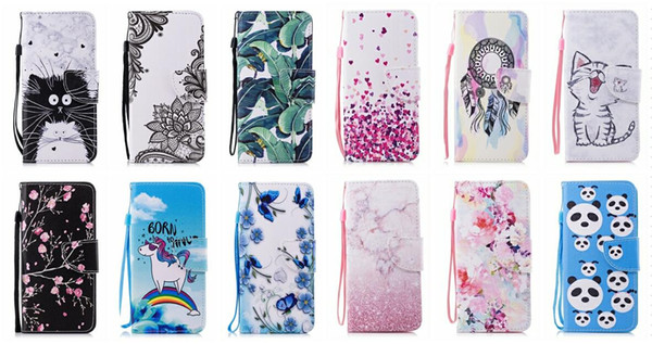 Leather Wallet Case For Iphone XR XS MAX X 8 7 6 6S SE 5 Galaxy Note 9 S9 Flower Lace Butterfly Love ID Card Slot Flip Cover Cat Cartoon