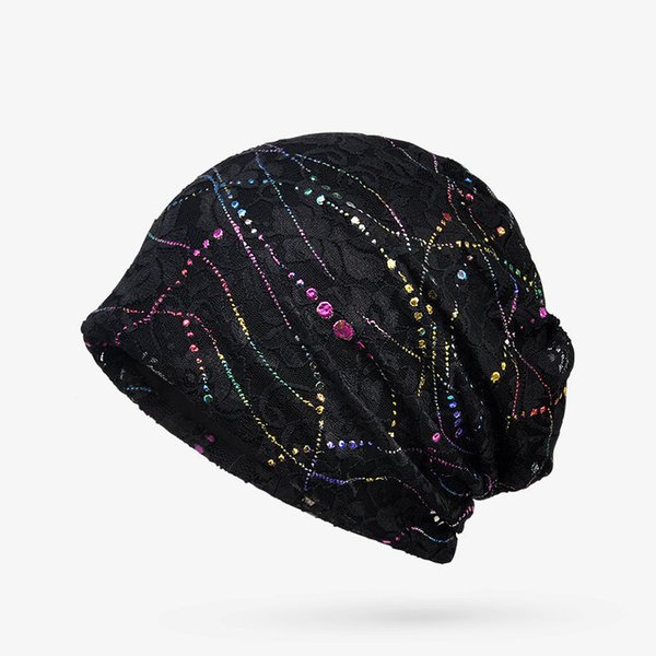 Ne'w Skullies Beanies Thin Lace Breathable Knitted Caps For Women Girl Cotton Hedging Cap Bonnet Hat Spring Summer