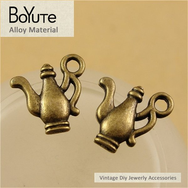 BoYuTe (100 Pieces /lot) 15*15MM Antique Bronze Plated Zinc Alloy Teapot Charms for Jewelry Findings Components Diy Necklace Hand Made