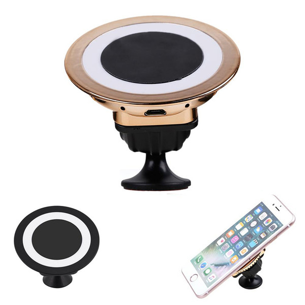top popular 360 Degree Rotating Qi Wireless Car Charger Charging Magnetic Mobile Phone Stand Holder for iPhone X 8 7 6s Plus Samsung S7 S8 2021