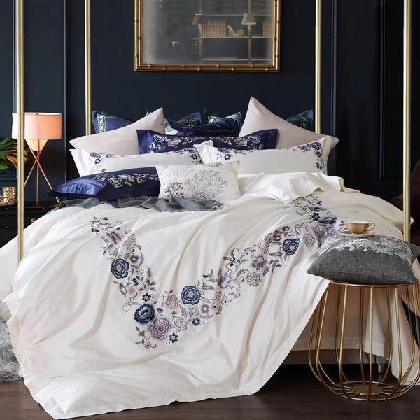Großhandel Weiß Blau Luxus Blumen Stickerei 100s ägypten Coon