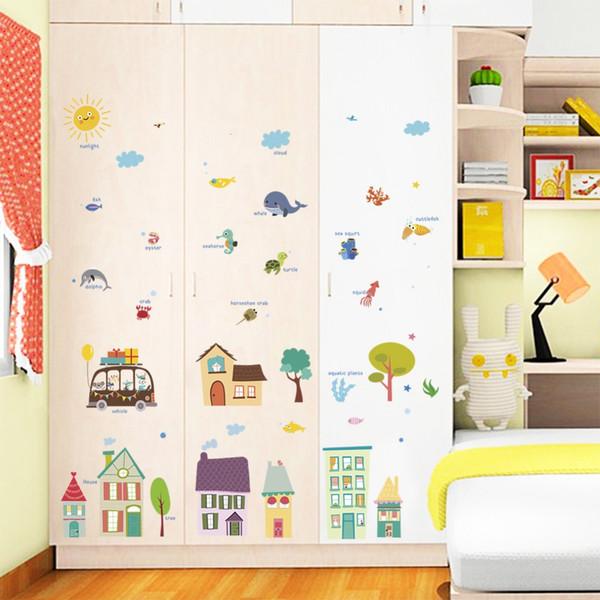 Grande Taille Bande Dessinée Coloré Maison Stickers Muraux Animaux Soleil Arbre Amovible Décalque Pour Enfants Chambre Maternelle Décoration Murale
