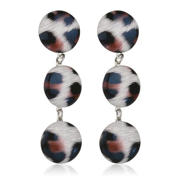 2019 Fashion Red White Gray Leopard Print Tassel Earrings For Women Dangle Earring Statement Drop Earrings Famale Party Jewelry