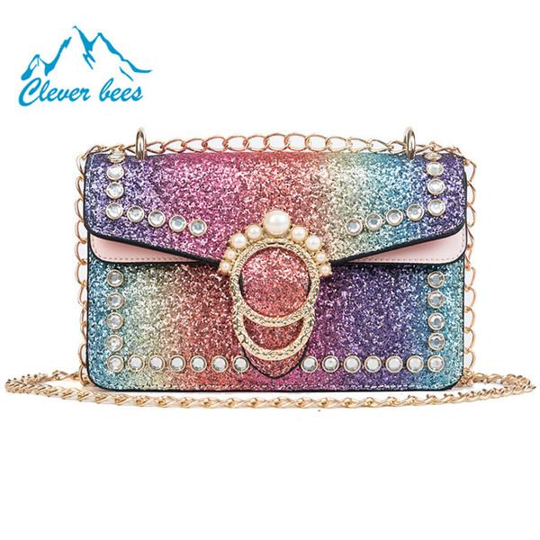 Été 2018 nouvelle mode paillettes couleur fraîche paillettes perle unique épaule sac messenger personnalité petit sac carré sac à main