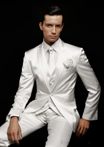 Custom lapel quality men's suit ivory white wedding groom groomsman dress party suit men's suit (coat + pants + vest)