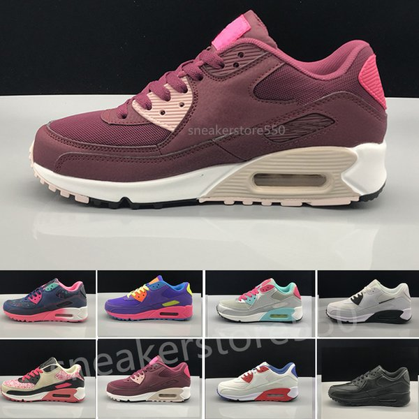 Acheter Nike Air Max 90 Airmax Femmes Sneakers Casual Shoes Classic 90  Femmes Et Femme Chaussures Sport Trainer Air Coussin Surface Respirant ...