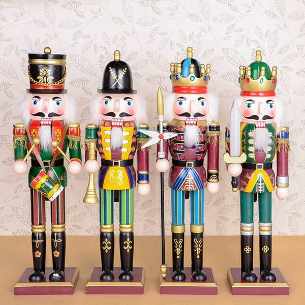1pcs 30cm Wood Made Nutcracker Puppet Zakka Creative Desktop Decoration Christmas Ornaments Drawing Walnuts Soldiers, Band Dolls