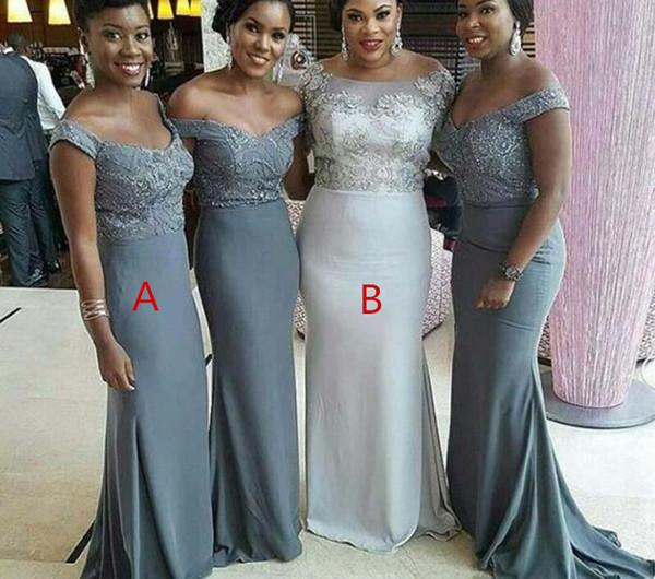 Сексуальный серый шифон Африканские платья подружки невесты с плеча 2019 плюс размер русалка кружева без рукавов плюс размер свадебное платье подружки невесты
