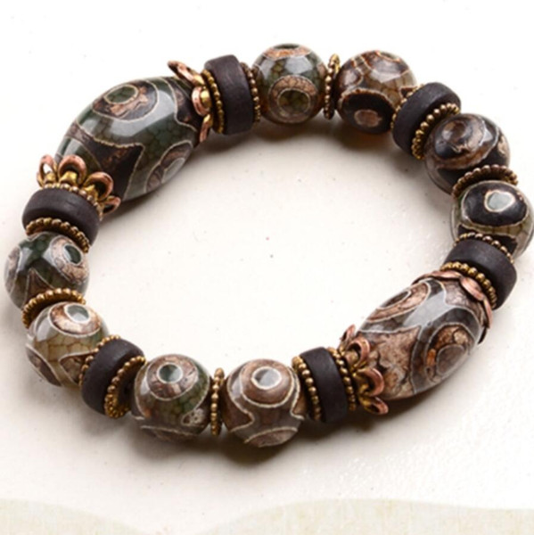 Nine Eyes Dzi Beads First-line Farmacista Calcedonio naturale Agata Maschio Tibet Genuine