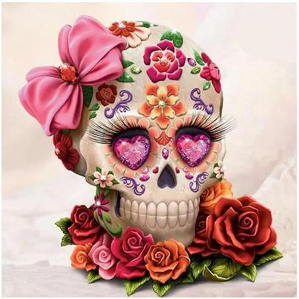 Broca completa diy diamante kits de pintura mosaico needlework crânio flor pendurado decoração de casa diamante bordado artes artesanato presentes 16 pc3 ff