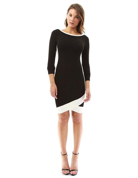 Frauen Kleid Vintage Solid Black Oansatz Formale Hochzeit Abendgesellschaft Kleid Clubwear Fashion Bodycon Frauen Kleidung Kleider