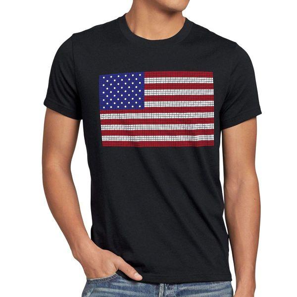 Usa Flagge 8-Bit Pixel T-Shirt Herren Us Amerika Sterne Streifen Vereinigte Staaten Csi T-shirt Männer Junge Baumwolle Benutzerdefinierte Kurzarm Plus Größe Paar