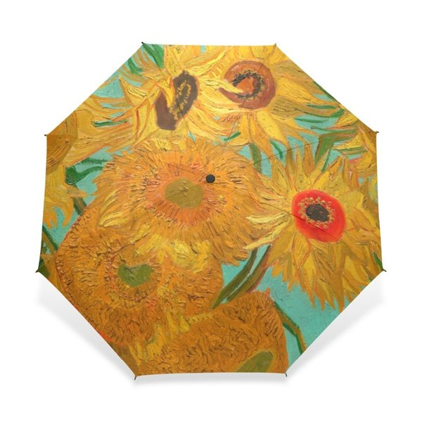 Van Gogh Sunflowers Oil Painting Sun/Rain Female Umbrella Three Folding Full Automatic Windproof Men Umbrella for Painting Lover