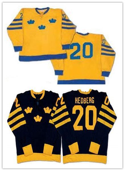 Benutzerdefinierte XS-5XL Anders Hedberg Team Schweden Gelb Schwarz Hockey Jersey Stitch Genäht Jeder Name Und Jede Anzahl Kostenloser Versand