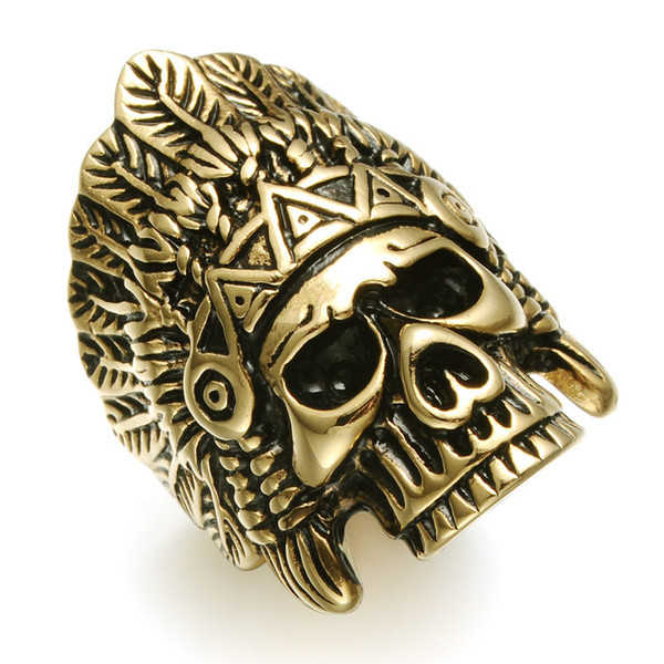 Stainless Steel Men Ring Skull Titanium Rings for Women Vintage Punk Fashion Jewelry Indian Chieftain Head Ring
