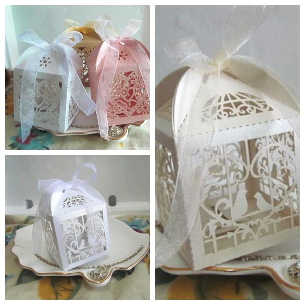 (50 Pieces/lot) Cheapest wedding souvenirs candy box of Love birds design and LOVE Heart Laser cut favor box For Bridal showers