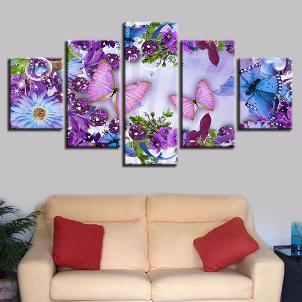 Posters Decor Pictures Framework HD Printing 5 Pieces Beautiful Butterfly And Colorful Flowers Paintings Modular Canvas Wall Art