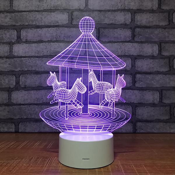 Acheter Lampe De Chevet Chambre 3d Décoloration Des Luminaires 3d Interrupteur Tactile à Distance Belle Changement De Couleur 7 Led Lumière De Nuit De