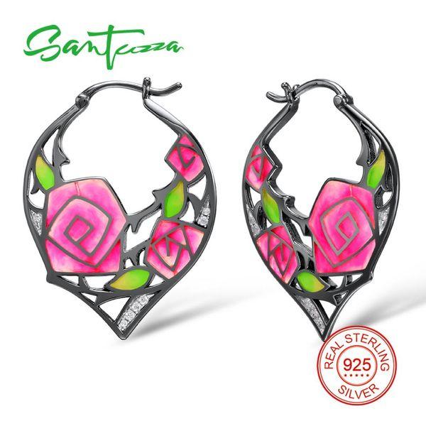 wholesale Silver Earrings For Women 925 Sterling Silver Rose Flower Dangle Earrings Cubic Zirconia brincos Fashion Jewelry Enamel