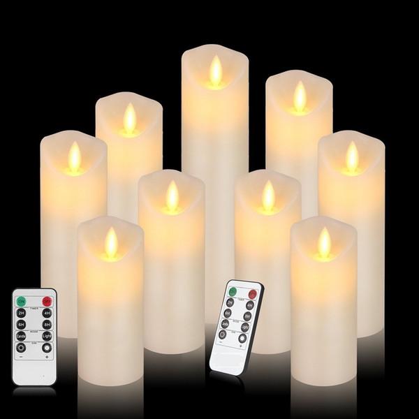 Velas sem chama conduzidas a pilhas Cilindro de luz oscilante a pilhas Real Smooth Smooth com temporizador e controle remoto de 10 teclas para casamento (conjunto de 9)